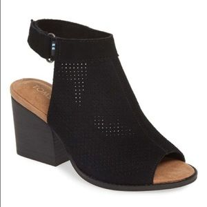 Toms Black Perforated Suede Boots - Women's Size 6